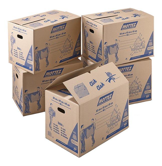 Mottez Boîte de déménagement carton brun 96 l - 5 pièces