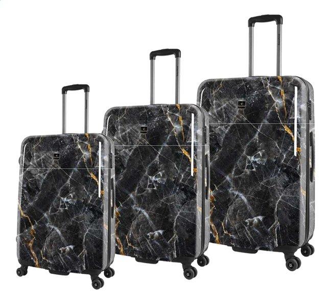 Image pour Saxoline set de 3 valises rigides Marble Black à partir de ColliShop