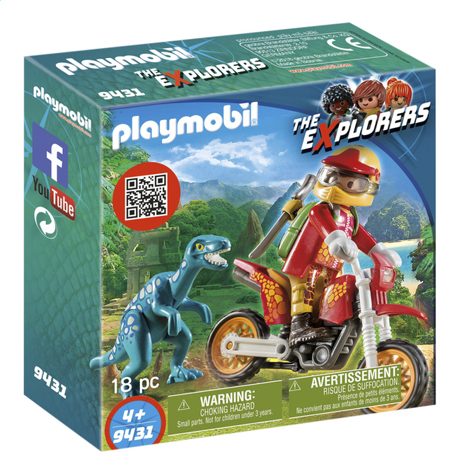 PLAYMOBIL The Explorers 9431 Pilote de moto et raptor
