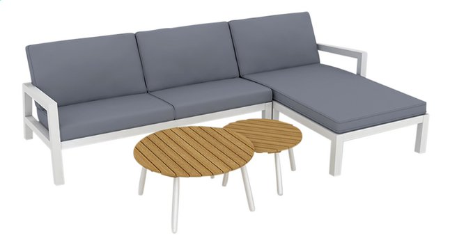 Image pour Suns Blue ensemble Lounge Lago 2 places gauche + 2 tables de salon anthracite/blanc à partir de ColliShop