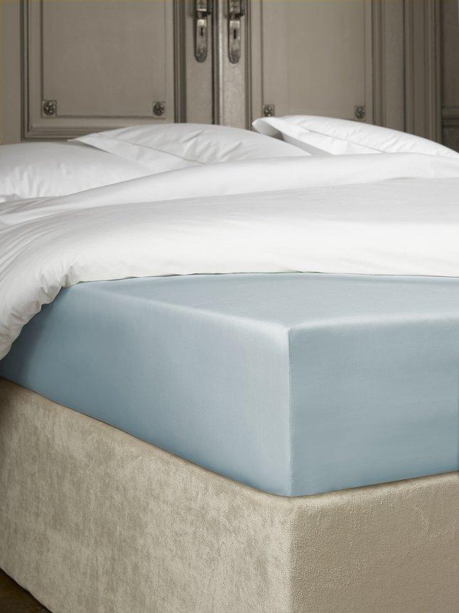 De Witte Lietaer Hoeslaken Bumblebee ice blue perkalkatoen 160 x 200 cm