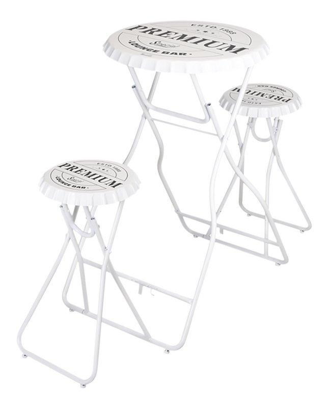 Table de bar avec 2 tabourets blanc