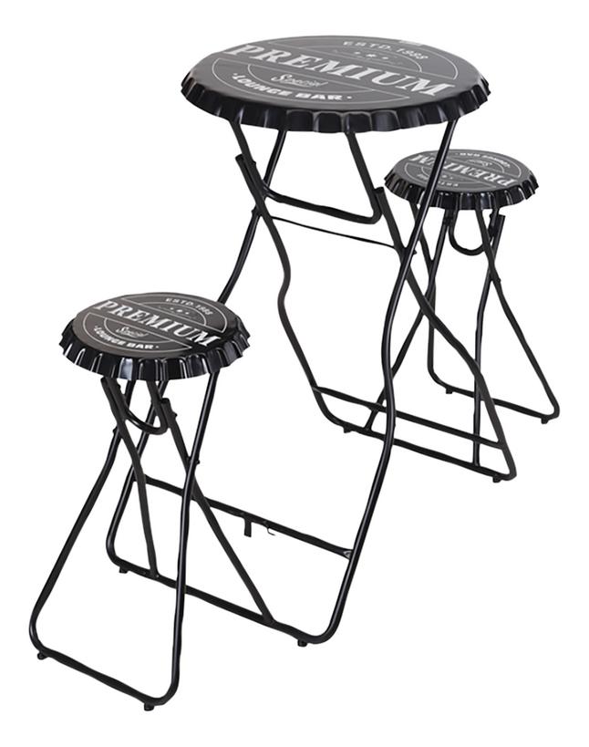 Table de bar avec 2 tabourets noir