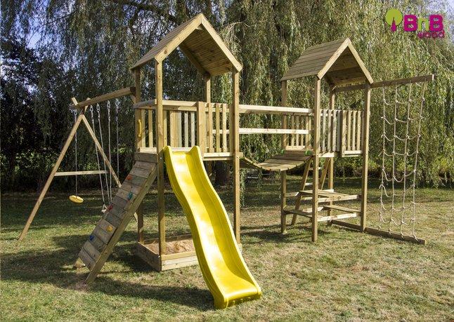 Image pour BnB Wood portique Nieuwpoort Duo Adventure avec toboggan jaune à partir de ColliShop