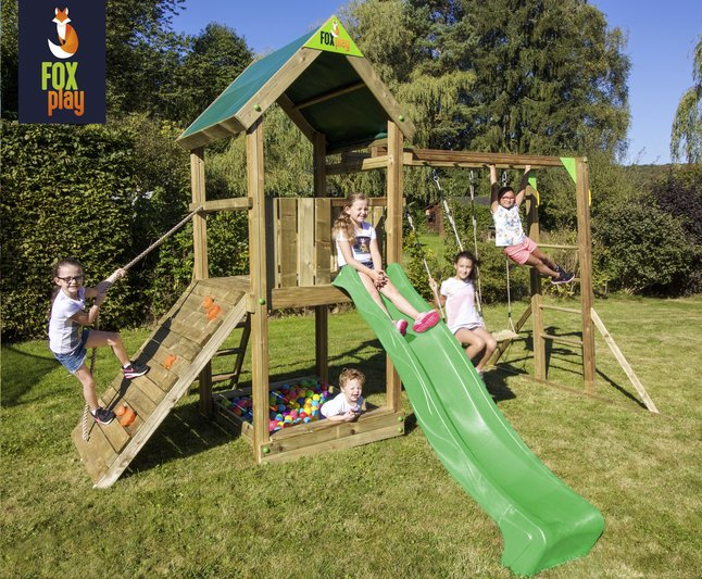 Fox play portique Riverside Monkey Bar Adventure avec toboggan lime