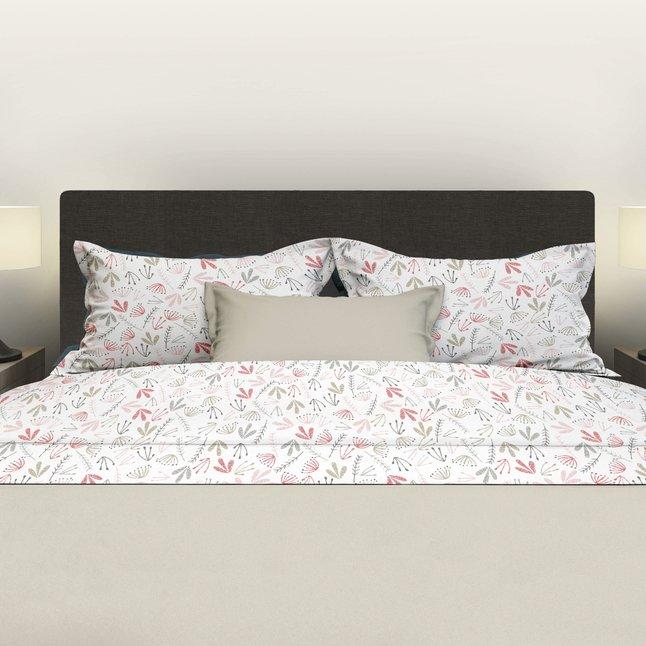 Romanette Drap de lit Fay blanc/rose coton