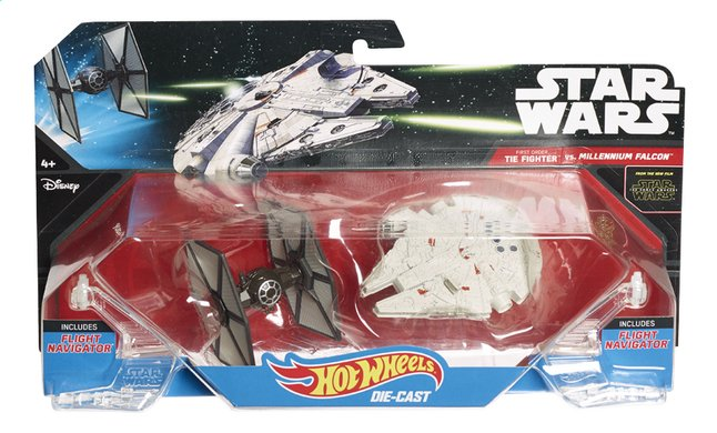 Image pour Hot Wheels vaisseaux spatiaux Star Wars TIE Fighter vs Millenium Falcon ! à partir de ColliShop
