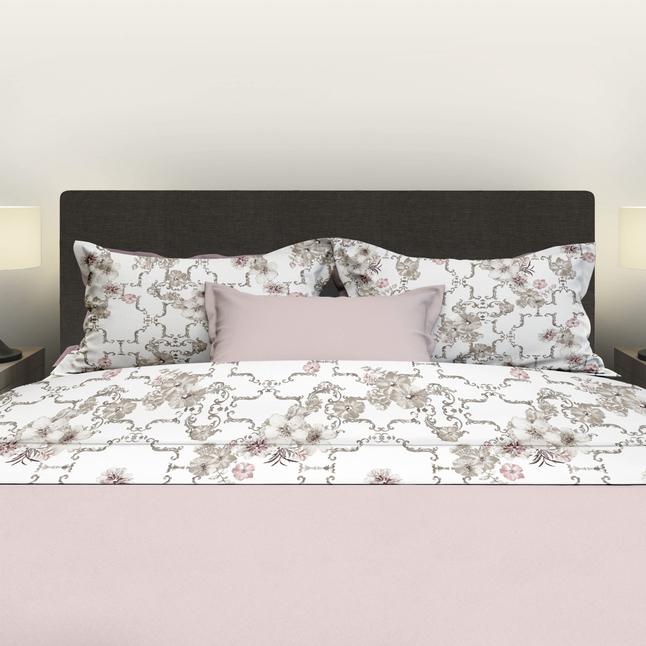 Image pour Satin d'Or Drap de lit Viola blanc/beige/rose satin de coton 240 x 300 cm à partir de ColliShop