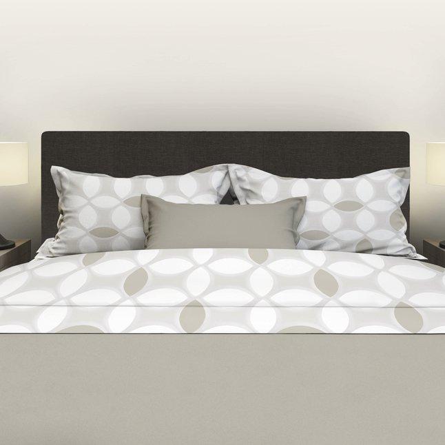 Afbeelding van Satin d'Or Beddenlaken Paperleaves wit/taupe/beige katoensatijn 180 x 290 cm from ColliShop