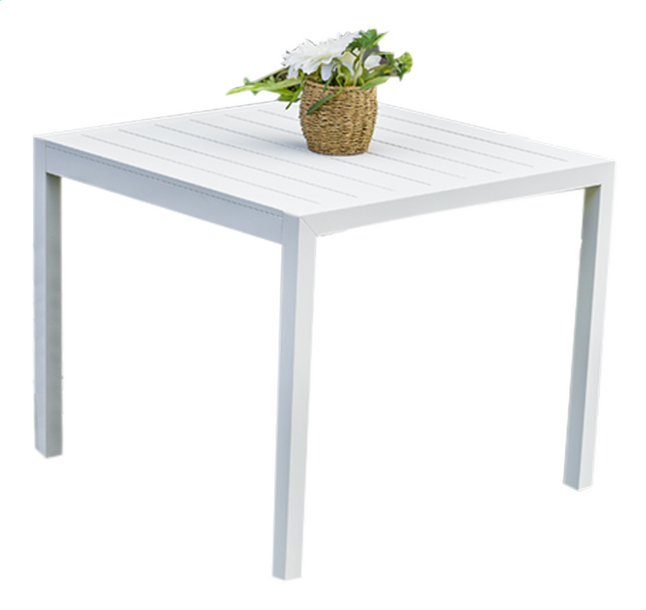 Table de jardin Cannes blanc L 90 x Lg 90 cm