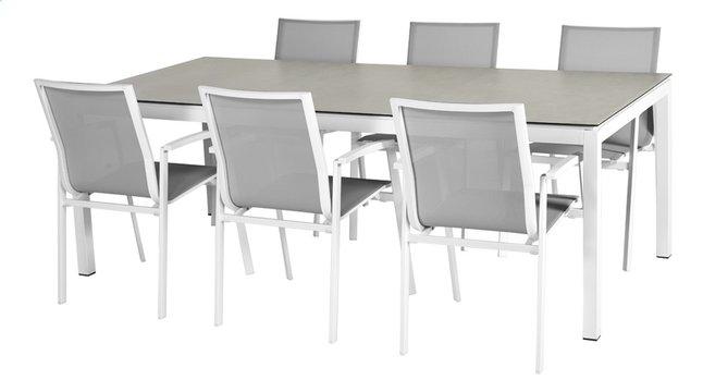 Ensemble de jardin Jura/Bondi L 220 x Lg 100 cm blanc