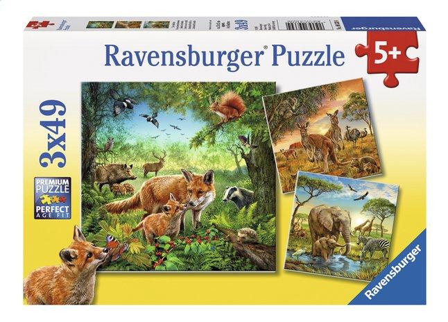 Image pour Ravensburger puzzle 3 en 1 Les animaux du monde à partir de ColliShop