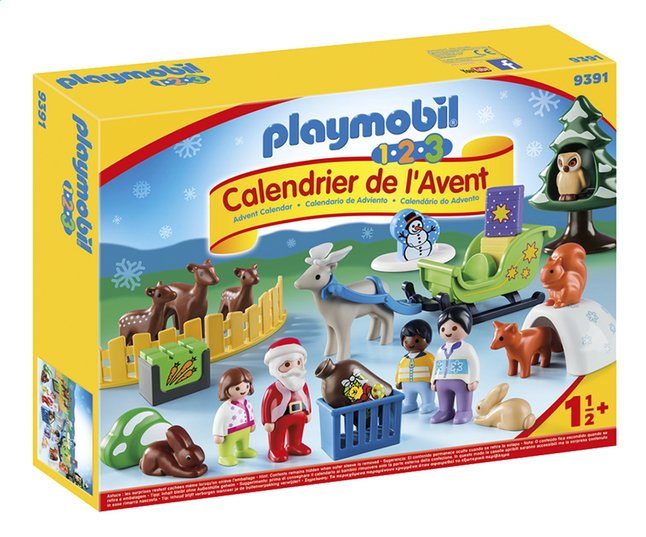 Calendrier De L Avent Playmobil Pas Cher.Playmobil 1 2 3 9391 Calendrier De L Avent Pere Noel Et Animaux De La Foret