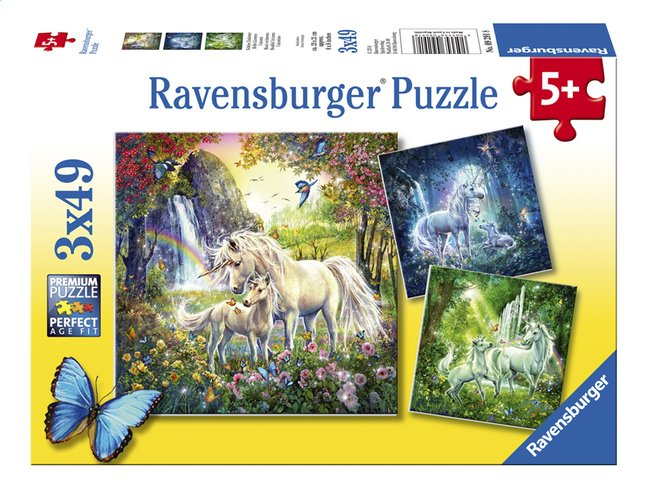 Image pour Ravensburger puzzle 3 en 1 Belles licornes à partir de ColliShop