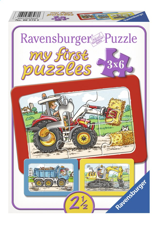 Afbeelding van Ravensburger Puzzel 3-in-1 My First Graafmachine, tractor en kiepauto from ColliShop