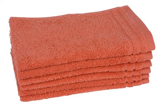 Image pour Jules Clarysse 6 serviettes d'hôte 30 x 50 cm Pearl Uni rouge corail à partir de ColliShop