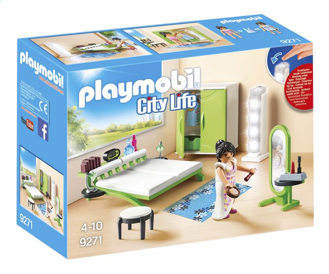 Playmobil city life 9271 chambre avec espace maquillage collishop - Chambre parents playmobil ...