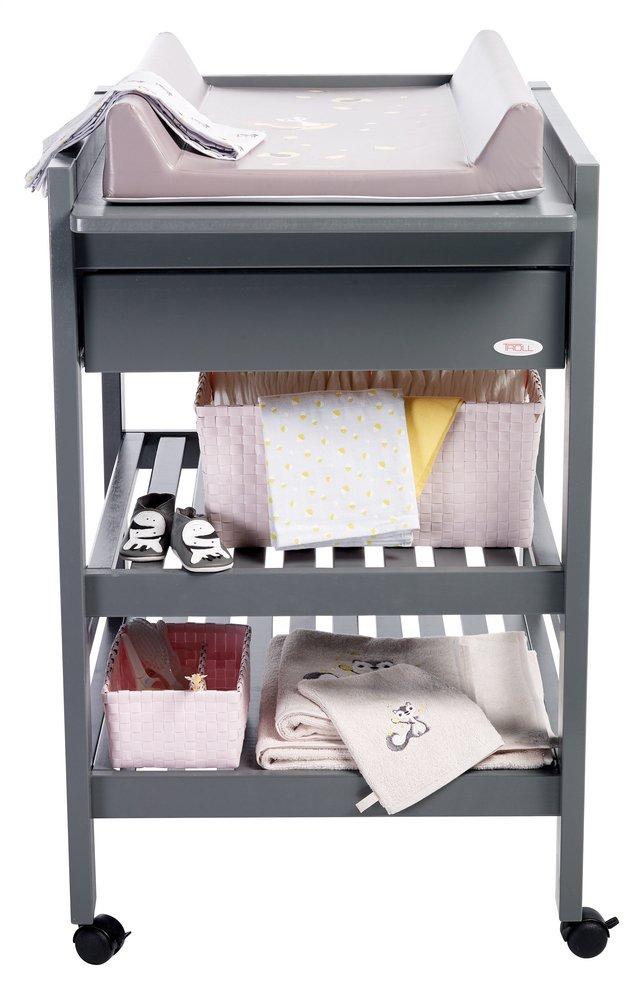 Troll Table à langer avec tiroir Loft seal grey | ColliShop
