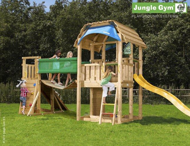 Image pour Tour de jeu en bois Barn avec pont et toboggan jaune à partir de ColliShop
