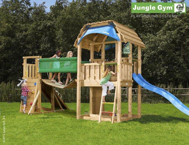 Afbeelding van Houten speeltoren Barn met brug en blauwe glijbaan from ColliShop