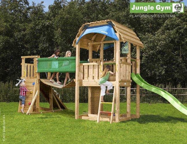 Image pour Tour de jeu en bois Barn avec pont et toboggan vert à partir de ColliShop