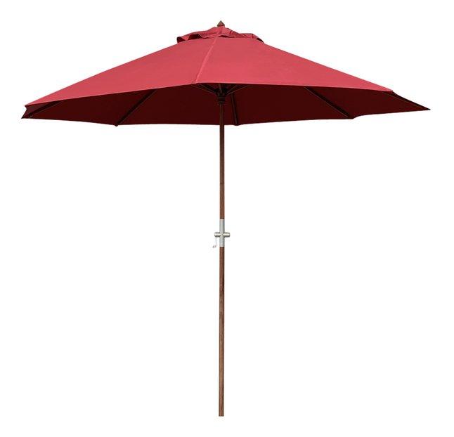 Parasol de luxe en bois FSC Ø 3 m bordeaux