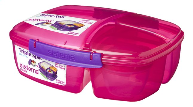 Afbeelding van Sistema lunchbox Trends Triple Split roze from ColliShop