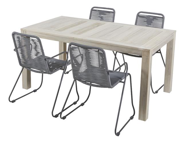 Ensemble de jardin Ulm 160 cm / Ibiza gris - 4 chaises