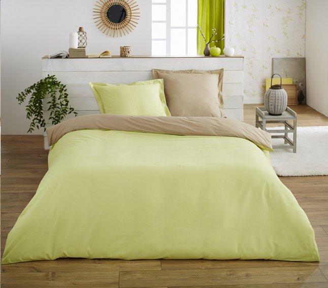 Image pour Home lineN housse de couette Bicolore taupe/lime en flanelle 200 x 200 cm à partir de ColliShop