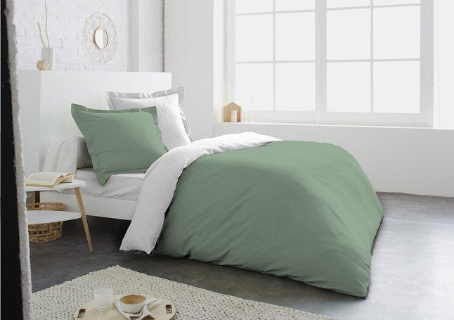 Image pour Home lineN Housse de couette Bicolore coton menthe/blanc 200 x 200 cm à partir de ColliShop
