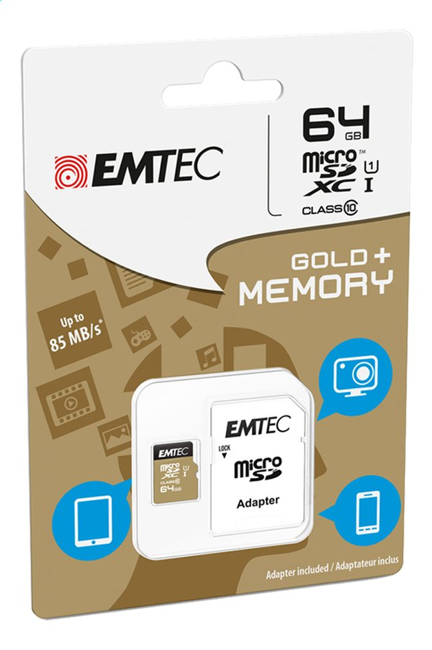 Afbeelding van Emtec geheugenkaart microSDXC Class 10 64 GB from ColliShop