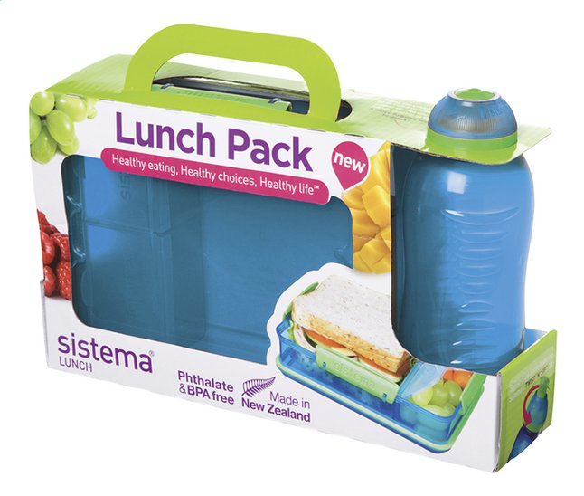 Afbeelding van Sistema brooddoos en drinkfles 330 ml Lunch Pack blauw from ColliShop