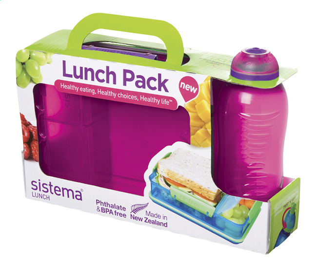 Afbeelding van Sistema brooddoos en drinkfles 330 ml Lunch Pack roze from ColliShop