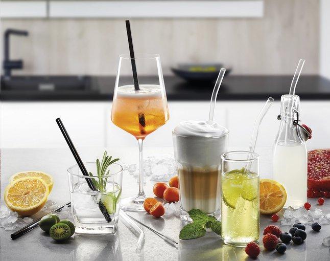 Afbeelding van Gefu 4 cocktailrietjes met reinigingsborsteltje from ColliShop