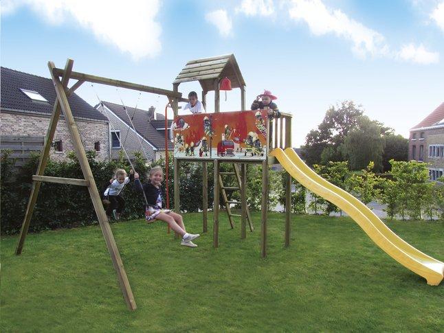 Image pour BnB Wood portique avec tour de jeu Fireman et toboggan jaune à partir de ColliShop