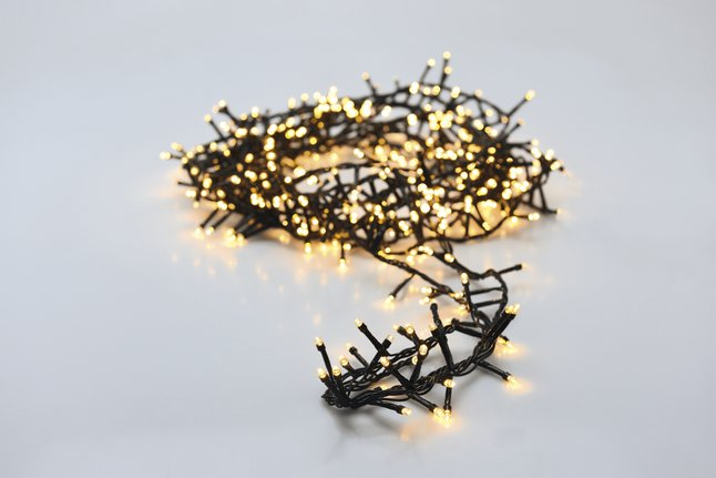 Guirlande lumineuse en grappe microLED 400 lampes blanc chaud