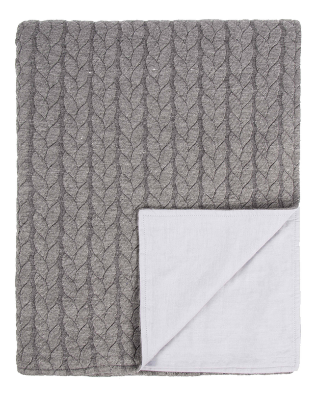 Tiseco Home Studio Plaid Sommar grey/blanc polyester/jersey 130 x 170 cm