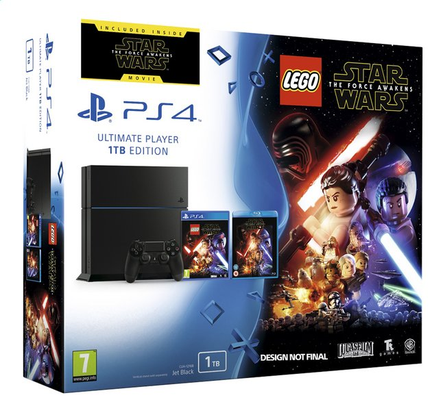 Afbeelding van PS4 console 1 TB zwart + LEGO Star Wars ENG/FR + blu-ray Star Wars: The Force Awakens from ColliShop