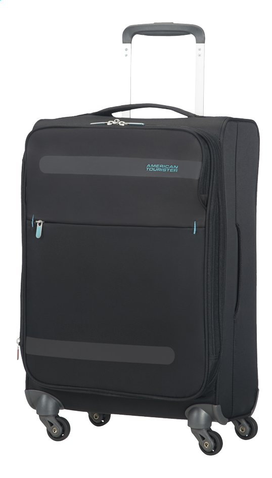 Afbeelding van American Tourister Zachte reistrolley Herolite Super Light Spinner EXP volcanic black 55 cm from ColliShop