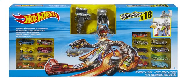 Afbeelding van Hot Wheels speelset Nitrobot Attack 18 autootjes from ColliShop