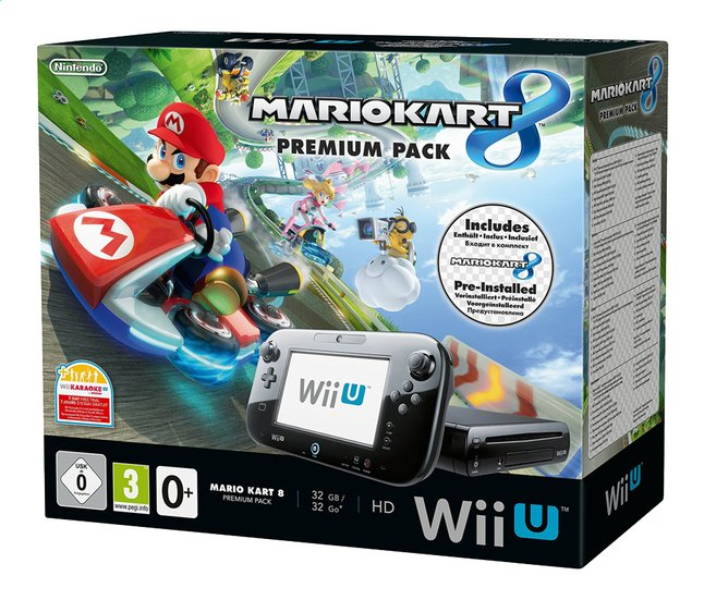 Afbeelding van Wii U console Premium Pack 32 GB zwart + pre-installed Mario Kart 8 NL/FR from ColliShop