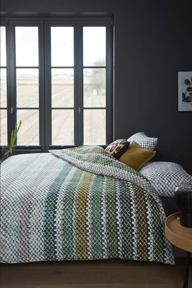 Afbeelding van Beddinghouse Dekbedovertrek Jarno flanel green 240 x 220 cm from ColliShop