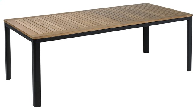 Table de jardin à rallonge York teck/noir 220 x 100 cm