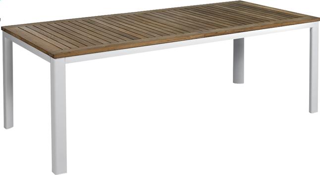 Image pour Table de jardin à rallonge York teck/blanc 220 x 100 cm à partir de ColliShop