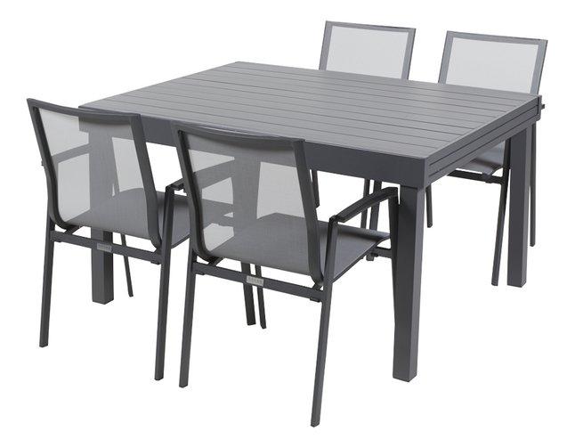 Ensemble de jardin Modulo/Bondi anthracite - 4 chaises