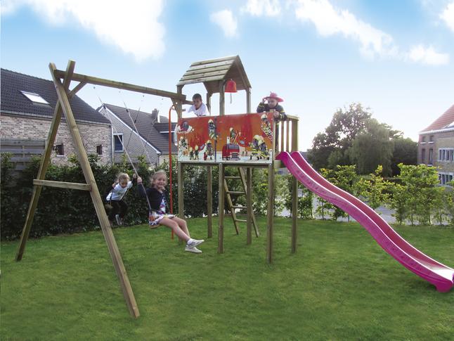 Afbeelding van BnB Wood schommel met speeltoren Fireman met paarse glijbaan from ColliShop