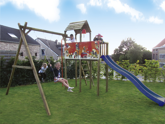 Image pour BnB Wood portique avec tour de jeu Fireman et toboggan bleu à partir de ColliShop
