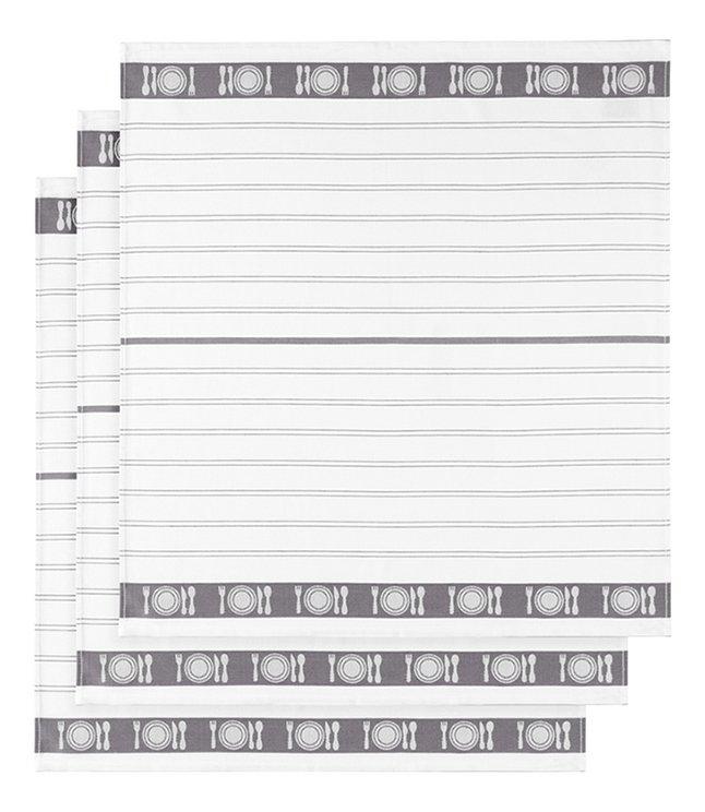 Image pour De Witte Lietaer 3 essuies de cuisine gris/blanc 65 x 65 cm à partir de ColliShop