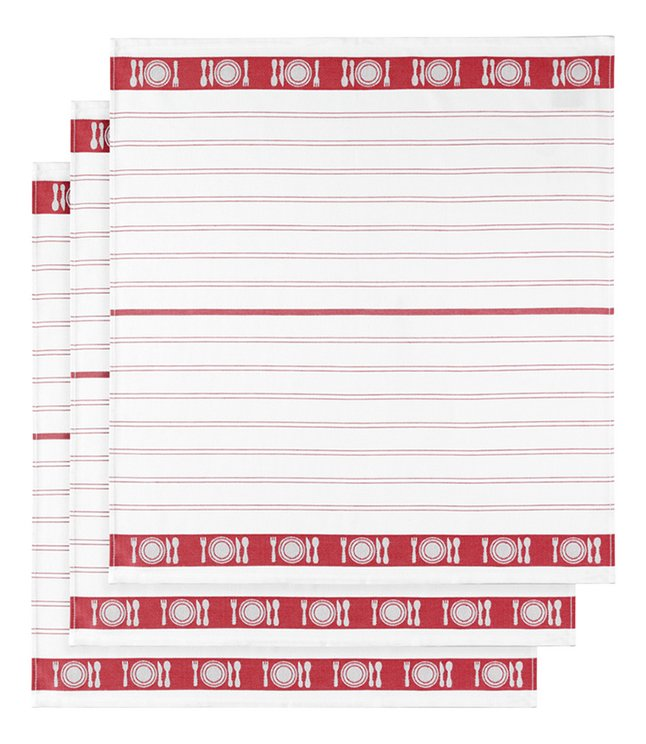 De Witte Lietaer 3 essuies de cuisine rouge/blanc 65 x 65 cm