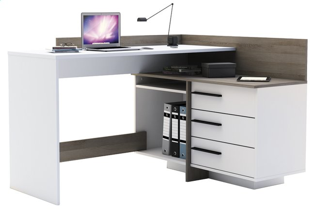 Bureau d 39 angle thales 3 tiroirs blanc d cor ch ne for Bureau ps 13